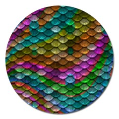 Fish Scales Pattern Background In Rainbow Colors Wallpaper Magnet 5  (round)