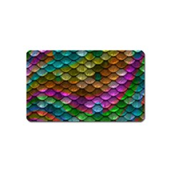 Fish Scales Pattern Background In Rainbow Colors Wallpaper Magnet (name Card)