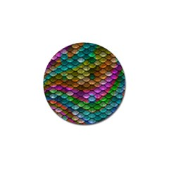 Fish Scales Pattern Background In Rainbow Colors Wallpaper Golf Ball Marker
