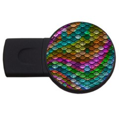 Fish Scales Pattern Background In Rainbow Colors Wallpaper USB Flash Drive Round (2 GB)