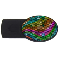 Fish Scales Pattern Background In Rainbow Colors Wallpaper USB Flash Drive Oval (1 GB)