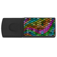 Fish Scales Pattern Background In Rainbow Colors Wallpaper USB Flash Drive Rectangular (2 GB)