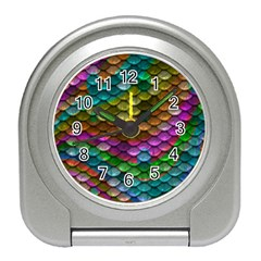Fish Scales Pattern Background In Rainbow Colors Wallpaper Travel Alarm Clocks