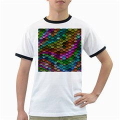 Fish Scales Pattern Background In Rainbow Colors Wallpaper Ringer T-Shirts