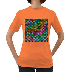 Fish Scales Pattern Background In Rainbow Colors Wallpaper Women s Dark T Shirt