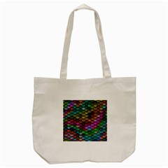 Fish Scales Pattern Background In Rainbow Colors Wallpaper Tote Bag (Cream)