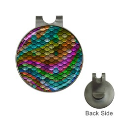 Fish Scales Pattern Background In Rainbow Colors Wallpaper Hat Clips with Golf Markers