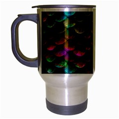 Fish Scales Pattern Background In Rainbow Colors Wallpaper Travel Mug (Silver Gray)