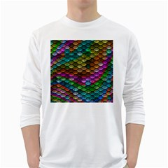 Fish Scales Pattern Background In Rainbow Colors Wallpaper White Long Sleeve T-Shirts