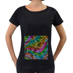 Fish Scales Pattern Background In Rainbow Colors Wallpaper Women s Loose-Fit T-Shirt (Black)