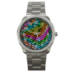 Fish Scales Pattern Background In Rainbow Colors Wallpaper Sport Metal Watch