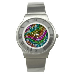 Fish Scales Pattern Background In Rainbow Colors Wallpaper Stainless Steel Watch