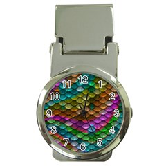 Fish Scales Pattern Background In Rainbow Colors Wallpaper Money Clip Watches