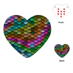 Fish Scales Pattern Background In Rainbow Colors Wallpaper Playing Cards (heart)
