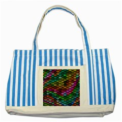 Fish Scales Pattern Background In Rainbow Colors Wallpaper Striped Blue Tote Bag