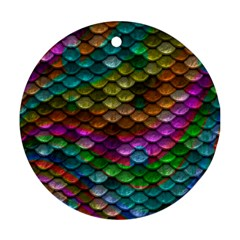 Fish Scales Pattern Background In Rainbow Colors Wallpaper Round Ornament (two Sides)