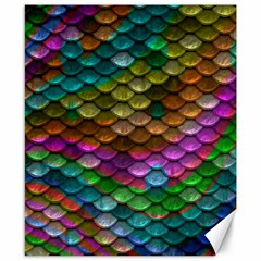 Fish Scales Pattern Background In Rainbow Colors Wallpaper Canvas 8  x 10