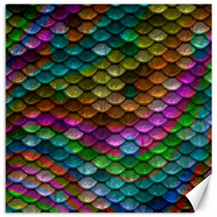 Fish Scales Pattern Background In Rainbow Colors Wallpaper Canvas 16  X 16