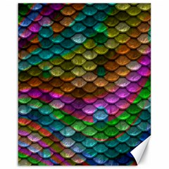 Fish Scales Pattern Background In Rainbow Colors Wallpaper Canvas 16  X 20