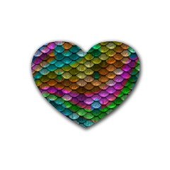 Fish Scales Pattern Background In Rainbow Colors Wallpaper Rubber Coaster (Heart)