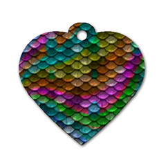 Fish Scales Pattern Background In Rainbow Colors Wallpaper Dog Tag Heart (One Side)