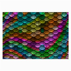 Fish Scales Pattern Background In Rainbow Colors Wallpaper Large Glasses Cloth (2-Side)