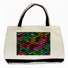 Fish Scales Pattern Background In Rainbow Colors Wallpaper Basic Tote Bag (Two Sides)