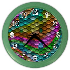 Fish Scales Pattern Background In Rainbow Colors Wallpaper Color Wall Clocks