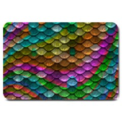 Fish Scales Pattern Background In Rainbow Colors Wallpaper Large Doormat