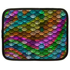 Fish Scales Pattern Background In Rainbow Colors Wallpaper Netbook Case (Large)