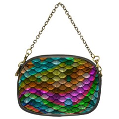 Fish Scales Pattern Background In Rainbow Colors Wallpaper Chain Purses (Two Sides)