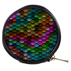 Fish Scales Pattern Background In Rainbow Colors Wallpaper Mini Makeup Bags