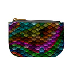 Fish Scales Pattern Background In Rainbow Colors Wallpaper Mini Coin Purses