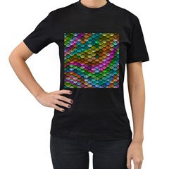 Fish Scales Pattern Background In Rainbow Colors Wallpaper Women s T Shirt (black)