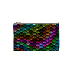 Fish Scales Pattern Background In Rainbow Colors Wallpaper Cosmetic Bag (Small)