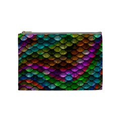 Fish Scales Pattern Background In Rainbow Colors Wallpaper Cosmetic Bag (medium)