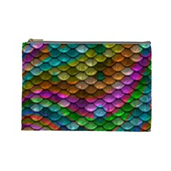 Fish Scales Pattern Background In Rainbow Colors Wallpaper Cosmetic Bag (large)