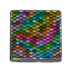 Fish Scales Pattern Background In Rainbow Colors Wallpaper Memory Card Reader (square)