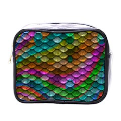 Fish Scales Pattern Background In Rainbow Colors Wallpaper Mini Toiletries Bags