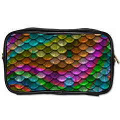 Fish Scales Pattern Background In Rainbow Colors Wallpaper Toiletries Bags