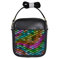 Fish Scales Pattern Background In Rainbow Colors Wallpaper Girls Sling Bags
