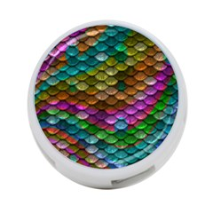 Fish Scales Pattern Background In Rainbow Colors Wallpaper 4-Port USB Hub (One Side)