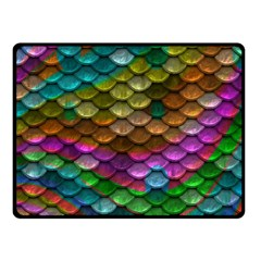 Fish Scales Pattern Background In Rainbow Colors Wallpaper Fleece Blanket (small)
