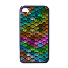 Fish Scales Pattern Background In Rainbow Colors Wallpaper Apple iPhone 4 Case (Black)
