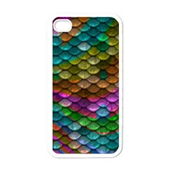 Fish Scales Pattern Background In Rainbow Colors Wallpaper Apple iPhone 4 Case (White)