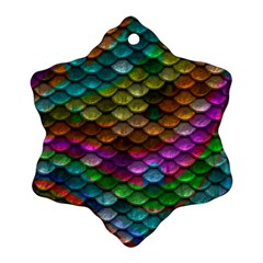 Fish Scales Pattern Background In Rainbow Colors Wallpaper Ornament (Snowflake)