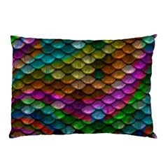 Fish Scales Pattern Background In Rainbow Colors Wallpaper Pillow Case (Two Sides)