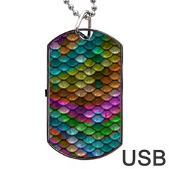 Fish Scales Pattern Background In Rainbow Colors Wallpaper Dog Tag USB Flash (Two Sides)