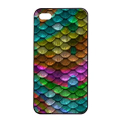 Fish Scales Pattern Background In Rainbow Colors Wallpaper Apple iPhone 4/4s Seamless Case (Black)