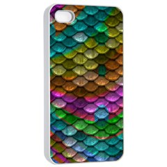 Fish Scales Pattern Background In Rainbow Colors Wallpaper Apple iPhone 4/4s Seamless Case (White)